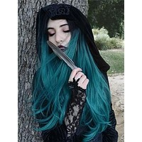 Long Black Root To Dark Green Ombre Straight Synthetic Lace Front Wig