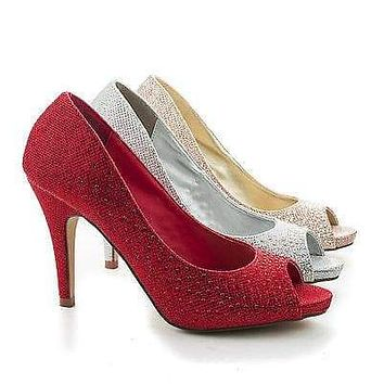 Eileen08 By Styluxe, Peep Toe Rhinestone Studded Classic Pumps