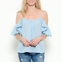 Baby Blue Off Shoulder Ruffle Top
