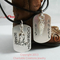 Her Cowboy His Angel Sterling Silver Dog Tag Set - His and Her Stamped Silver Necklace Set - Couple Jewelry