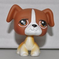 Boxer #25 (Brown, White Accents, Brown Eyes) Littlest Pet Shop (Retired) Collector Toy - LPS Collectible Replacement Single Figure - Loose (OOP Out of Package & Print)