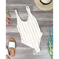 Dippin' Daisy's - Seamless U Back One Piece Bikini - Sand Stripes
