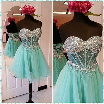 Lace Up Back Homecoming Dress