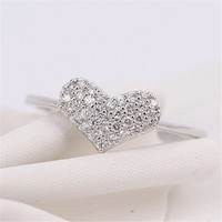 MP Micropave Setting of AAA Quality White Clear CZ Stones Full Heart Pave Slim Arm Ring Silver Color 18K Gold Plated Gift for Her Promise Ring Engagement Ring Anniversary Ring US 5 ADP 0704
