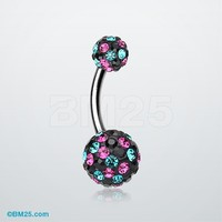 Retro Motley Tiffany Inspired Sparkle Belly Button Ring