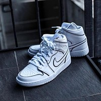 Air Jordan 1 Mid White Black 3M Laser Mid Sneakers Basketball Shoes