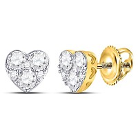 10kt Yellow Gold Women's Diamond Heart Cluster Stud Earrings 1/2 Cttw