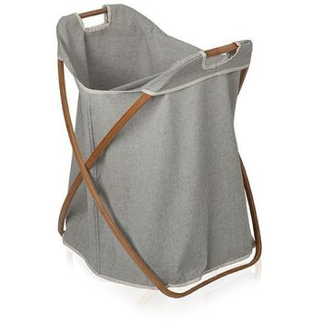 Bamboo With Canvas Foldable Split Hamper Laundry Basket With Carry Handles