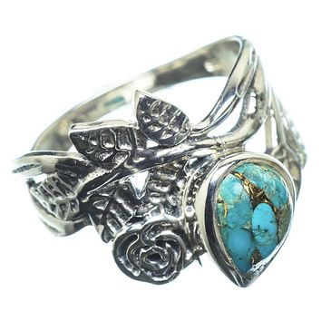 Blue Copper Turquoise Sterling Silver Rose Ring