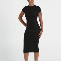 Danielle Black BodyCon Midi T-Shirt Dress