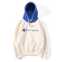 Champion Embroidered Logo Colorblock Contrast Hoodie Plus Velvet Long Sleeve Sweatshirt