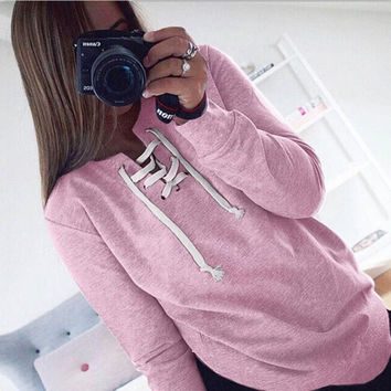 Sweatshirt Women    Long Sleeve Pullovers Lacing up Tops Casual Loose Pullovers Female sudaderas mujer &23 SM6