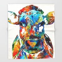 Colorful Cow Art - Mootown - By Sharon Cummings Throw Blanket by Sharon Cummings | Society6