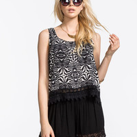 Patrons Of Peace Crochet Womens Cami Black  In Sizes