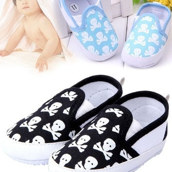 Cute Baby Shoes Cool Skull Heads Skull  Crossbones Anti-skid Toddlers Kids Shoes Baby First Walkers shoes Soft = 1929681156