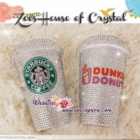 Stylish BLING and Sparkly Crystallized DUNKIN DONUTS Ceramic Mug / Cup with Swarovski / Czech crystal - ZoeCrystal