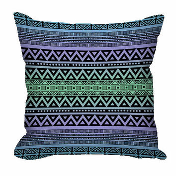 Tribal Pattern Throw Pillow in blue, purple and green