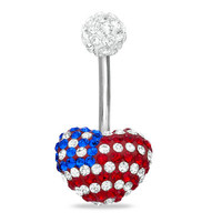 014 Gauge Belly Button Ring with Red White and Blue Crystal American Flag Heart in Stainless Steel -  - View All - PAGODA.COM