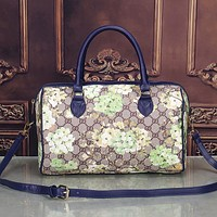 Gucci Women Leather Flower Print Luggage Travel Bags Tote Handbag