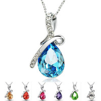 2015 new arrive Sterling Silver Necklace Luxurious Blue austrian crystal Angel's tear Pendant in stock now D113