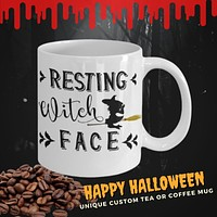 Resting Witch Face Mug Halloween Gothic coffee mug  tea cup funny gift for her party decor