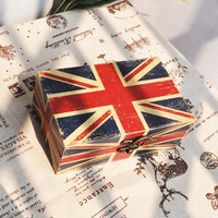 England Style Engliand Flag Box Wooden Storage Gifts Home Decor [6282381190]