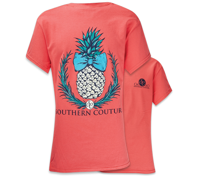 Image of Southern Couture Preppy Classic Pineapple Bow Tropical Girlie Bright T Shirt