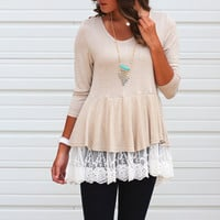 Laced Around Relaxed Peplum {Tan}