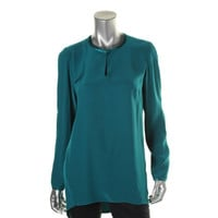 Lafayette 148 Womens Silk Hi-Low Pullover Top