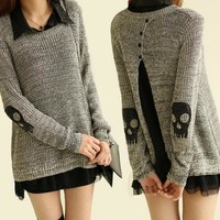2017 Winter new Korean skull piece loose long sweater women sweater Women fashion Print Lady Outwear A714