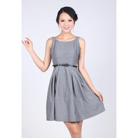 Gray Sleeveless Mini Dress