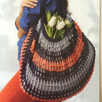 FREE SHIPPING Easy Breezy Carry-all crochet handbag colorful crochet purse summer purse excellent Mother's Day gift hobo bag cotton lined