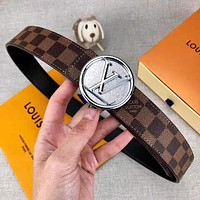 Louis Vuitton LV Trending Popular Woman Men Chic Circular Buckle Belt Leather Belt With Box