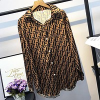 FENDI Fashionable Women Retro Chic F Letter Print Long Sleeve Lapel Shirt Top Coffee