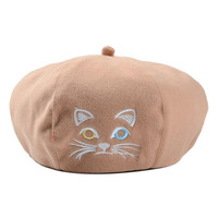 Apricot Cute Kitty Embroidery Woolen Beret Hat