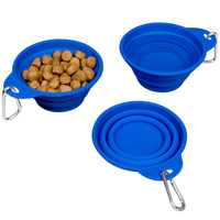 Evelots® Silicone Collapsing Pet Bowls, Expandable Travel Dish, Blue, Set Of 3