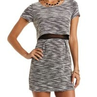 Mesh-Lined Tweed Illusion Dress by Charlotte Russe
