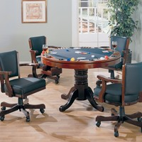 5 pc Mitchell collection cherry finish game room table set, poker, bumper pool, dining table