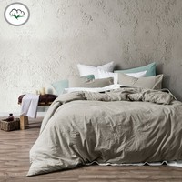 Washed Cotton Quilt Cover Set Latte by Accessorize - Manchester House