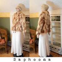 Vintage 60s Fox Fur Coat Red Blonde Jacket Jacques Saint Laurent boho festival INCLUDES US SHIPPING