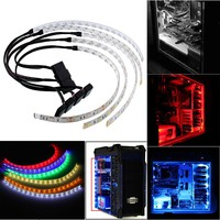 Waterproof 60CM Bright Flexible 5050 SMD 18 LED Case Strip Light For PC Computer Decor