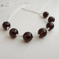 Smoky quartz necklace elegant chain necklace women brown stones