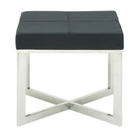 Amazing Stainless Steel Grey Leather Stool