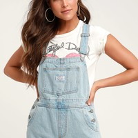Vintage Shortall Light Blue Denim Overalls