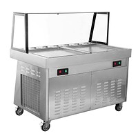 IC1300 Double Square Pan Roll Thai Fried Ice Cream Machine With 7 Compartments