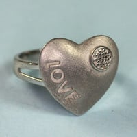 """Sterling """"Love"""" Heart Ring Diamond Accent Size 8"""