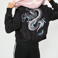 Missguided - Black Embroidered Dragon Bomber