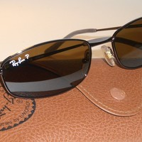 55-18 RAY BAN RB3198 014/83 3P B15 POLARIZED SLEEK BROWNISH SLIMLINES SUNGLASSES