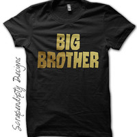 Big Brother Shirt - Birth Announcement Shirt / Toddler Boys Shirt / Kids Gold Lettering / New Brother Tshirt / Big Brother Outfit / Black