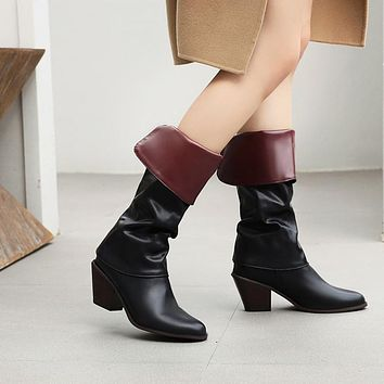 Ruched Tall Boots Mid Heeled Woman Shoes